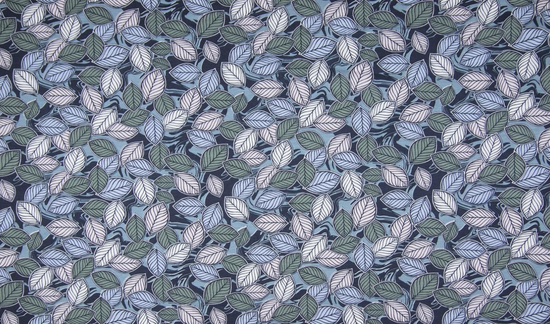 Baumwolljersey mit Blätter - dusty blue