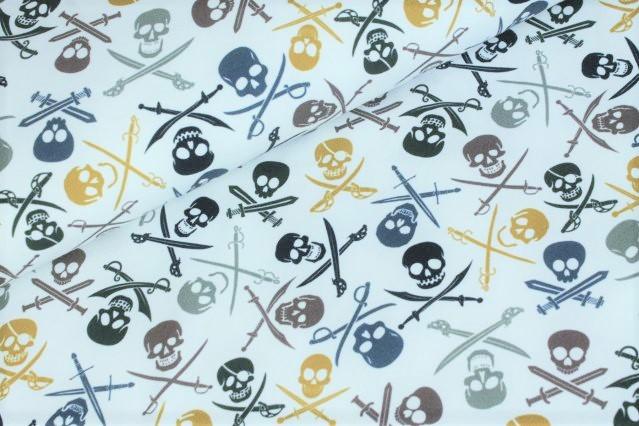 "Sommersweat angeraut ""Pirate Skulls"" - ecru"
