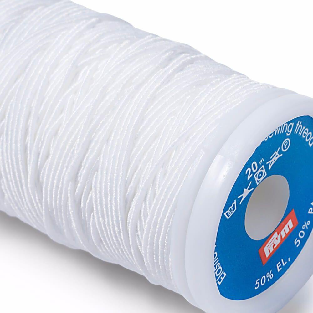 Prym Elastik-Nähfaden 0,5mm weiß 20m