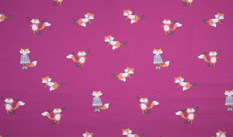 Sommersweat angeraut pink mit Winter Füchsen
