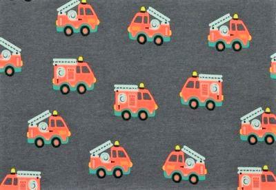 Baumwolljersey dunkelgrau meliert mit Feuerwehrautos