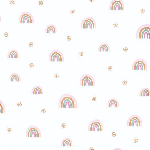 """0,38m Reststück       Softsweat angeraut Organic Cotton """"Rainbows"""" - weiß"""