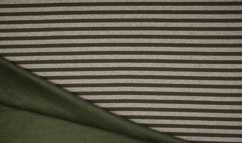 Alpenfleece mit khaki/grauen Streifen