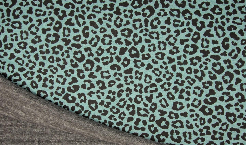 Alpenfleece dusty mint meliert mit Leopardenmuster