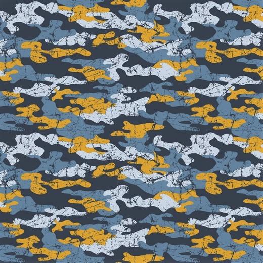 0,73m     Sommersweat mit Camouflagemuster - blau/gelb
