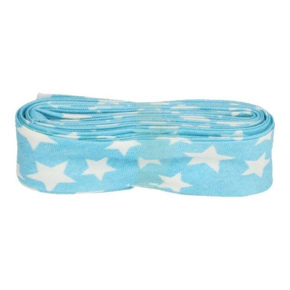 3m Baumwoll Schrägband hellblau mit weißen Sternen 20mm