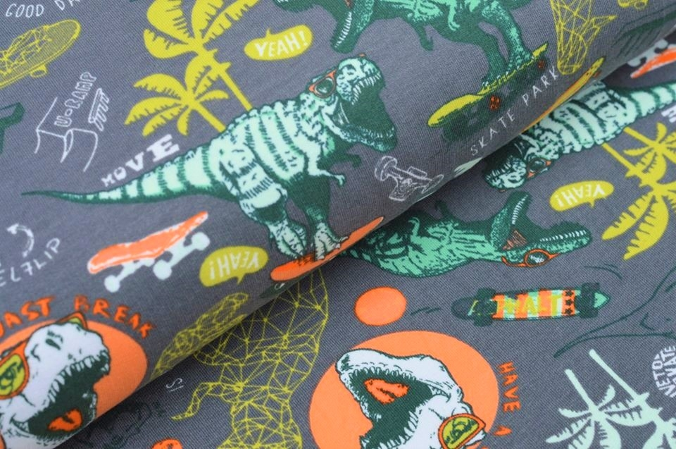 Softsweat angeraut Organic Cotton grau mit Dinos auf Skateboards