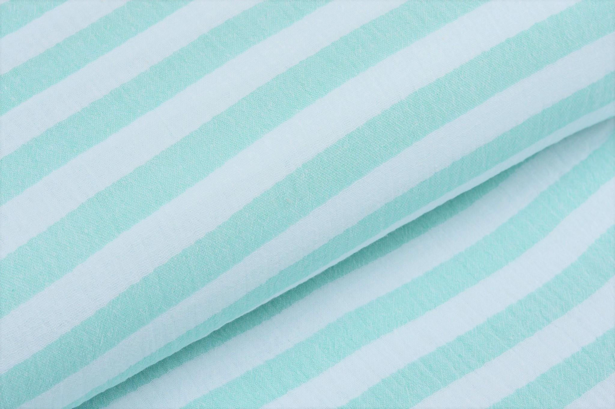 Baumwolle Musselin Double Gauze mit Streifen - ecru/mint