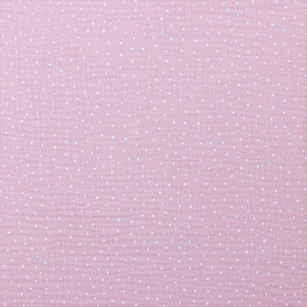 Baumwolle Musselin Double Gauze dusty rose mit weißen Dots