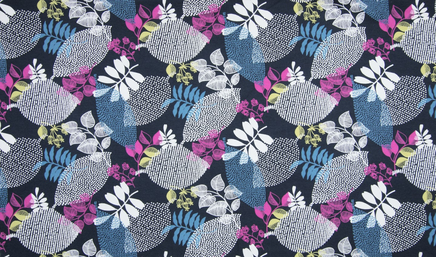 "Sommersweat Organic Cotton angeraut ""Leaves"" - navy/pink"