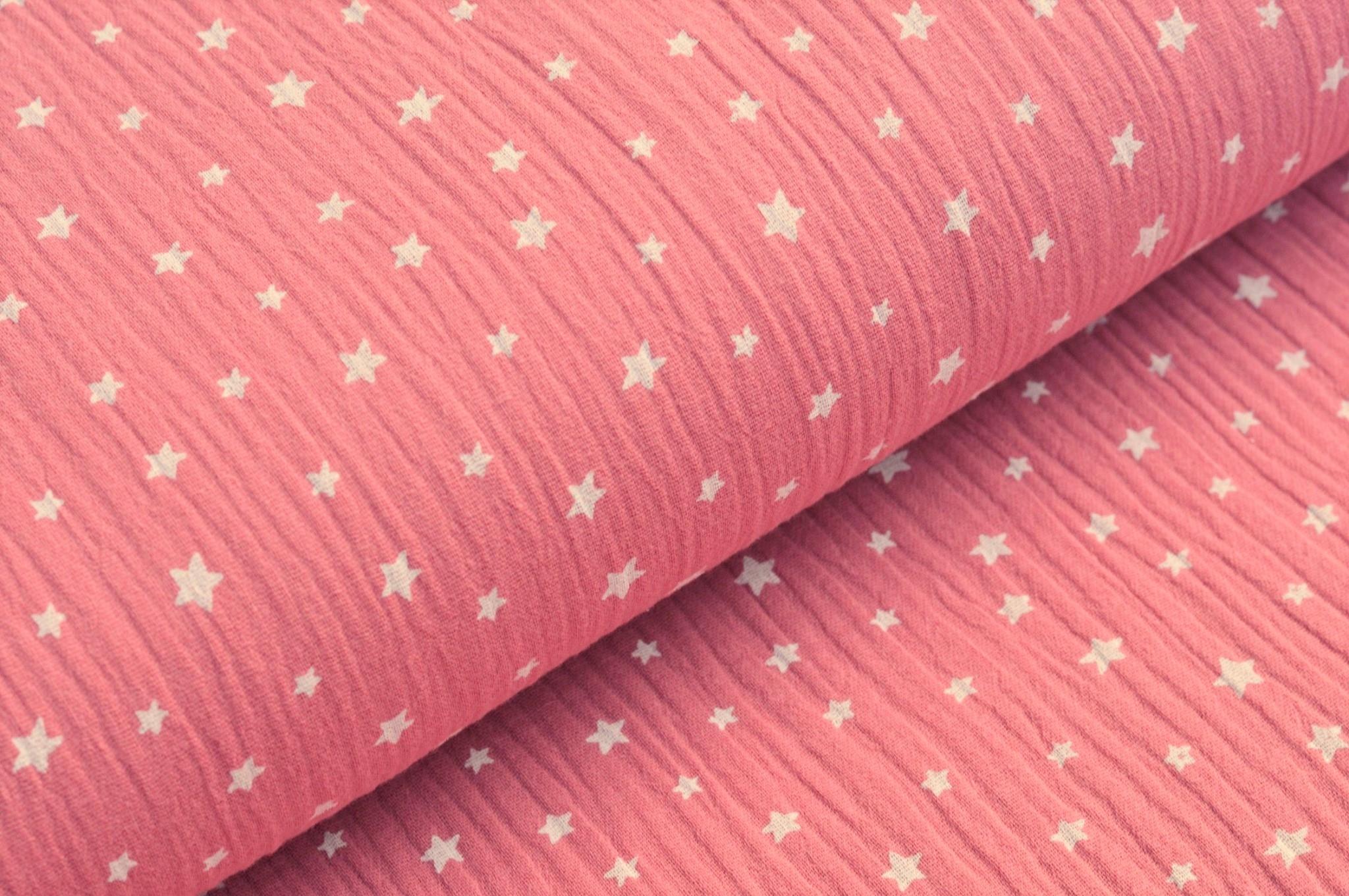 Baumwolle Musselin Double Gauze altrosa mit weissen Sternen