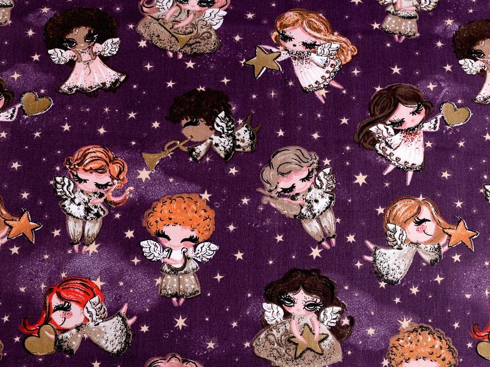 Baumwollstoff lila mit Engeln