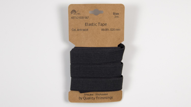 Karte 3m Elastik Gummi 20mm breit in anthrazit (567)