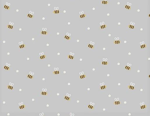 Baumwollstoff hellgrau mit kleinen Bienen