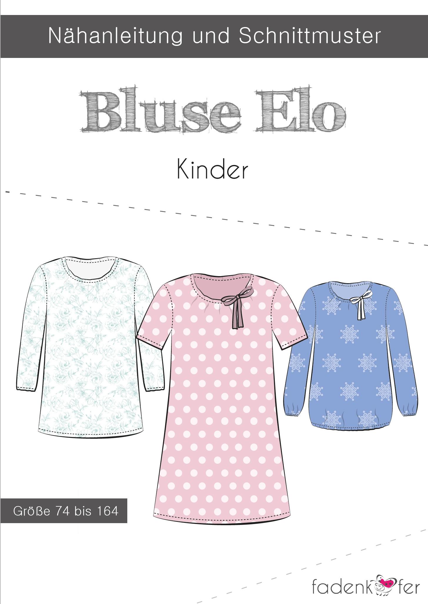 Papierschnittmuster Bluse Elo für Kinder 74-164 von Fadenkäfer