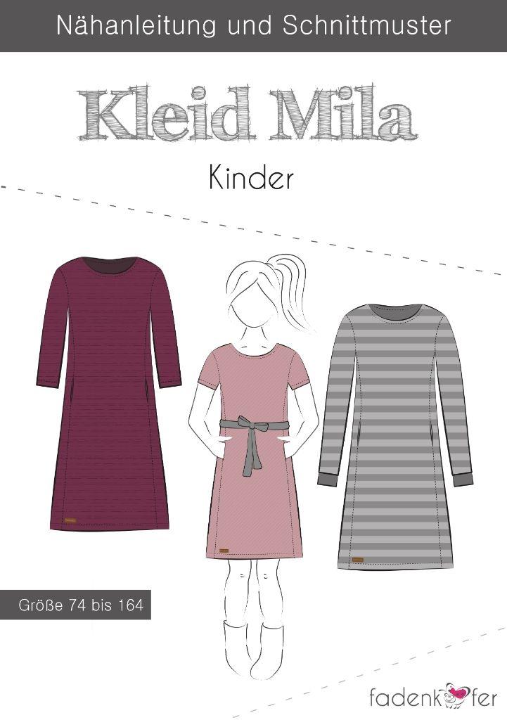 Papierschnittmuster Kleid Mila für Kinder 74-164 von Fadenkäfer