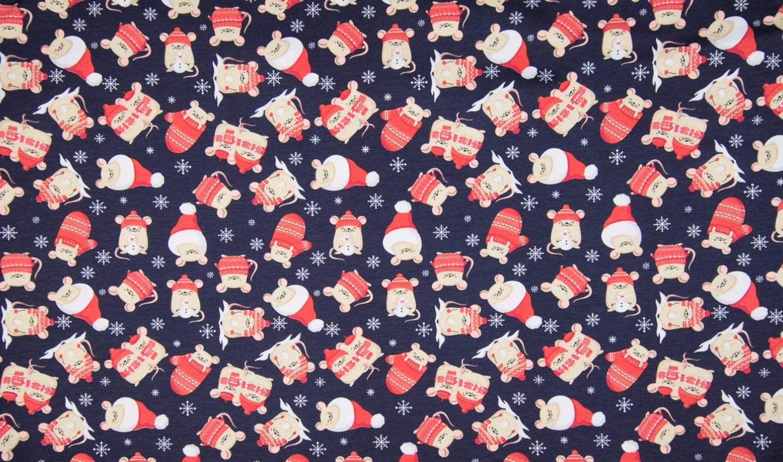 "Baumwolljersey ""Christmas Mouse"" - dunkelblau"