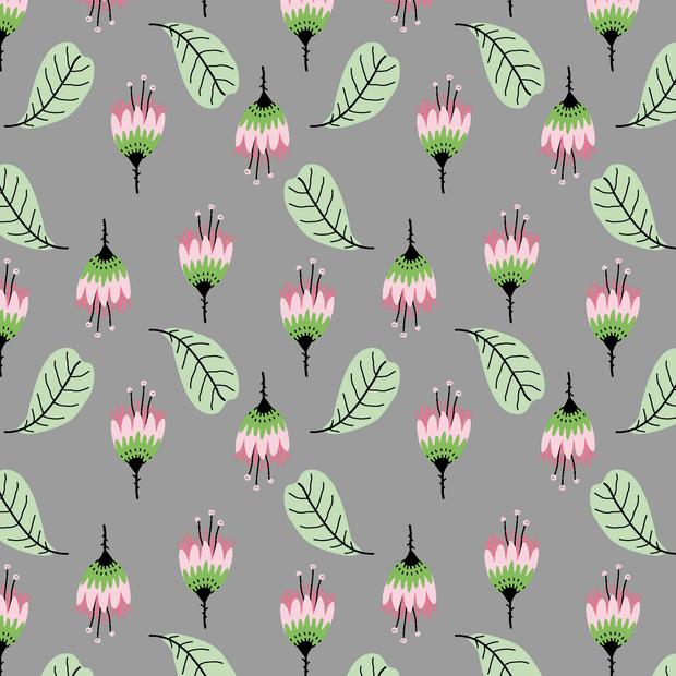 Baumwolljersey mit Blumen und Blättern - grau