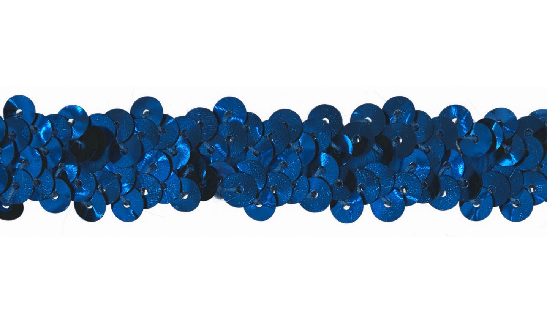 Paillettenborte elastisch uni kobaltblau 20mm