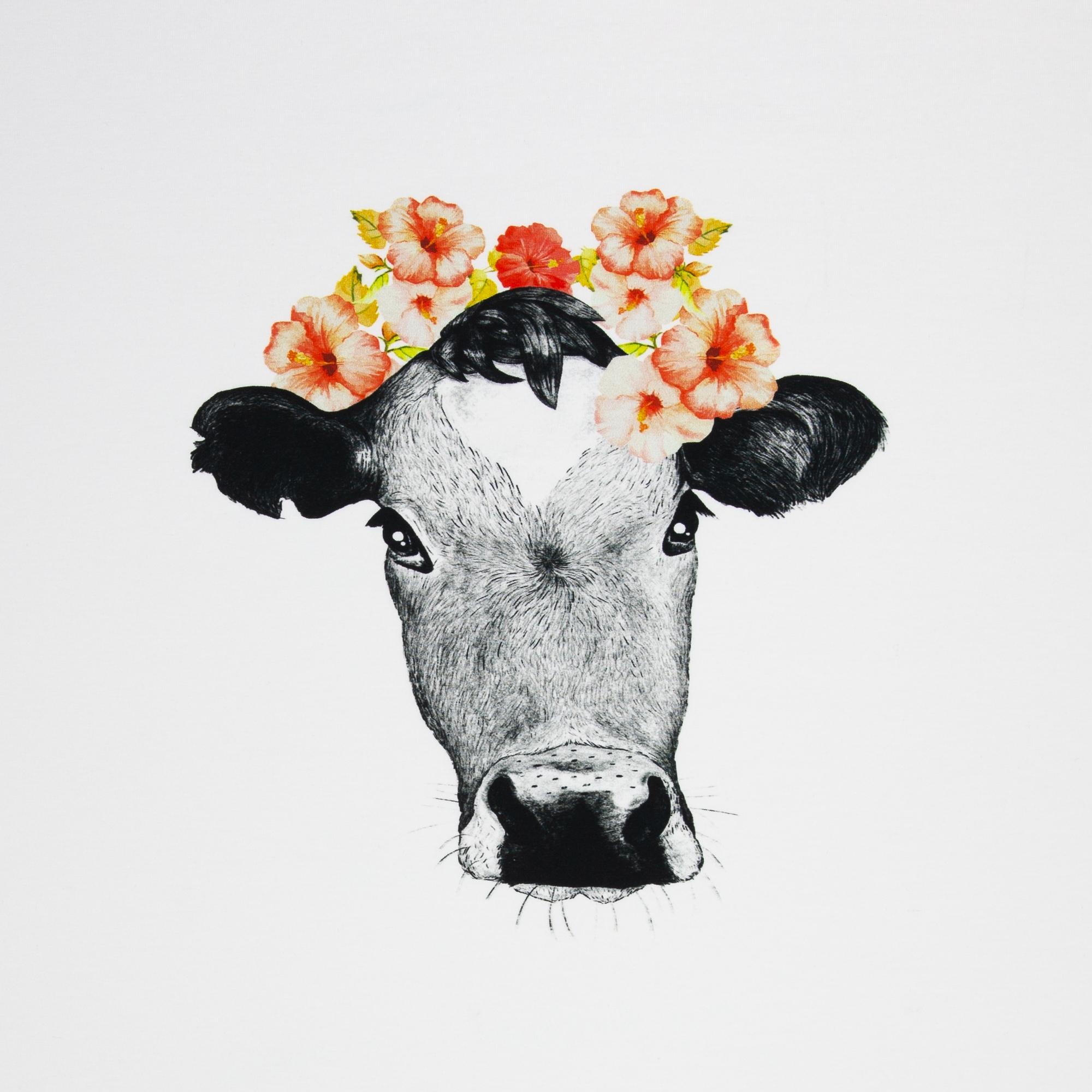 Baumwolljersey Panel Kuh Tessa mit Blumen