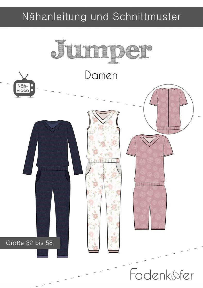 Papierschnittmuster Jumper für Damen 32-58 von Fadenkäfer