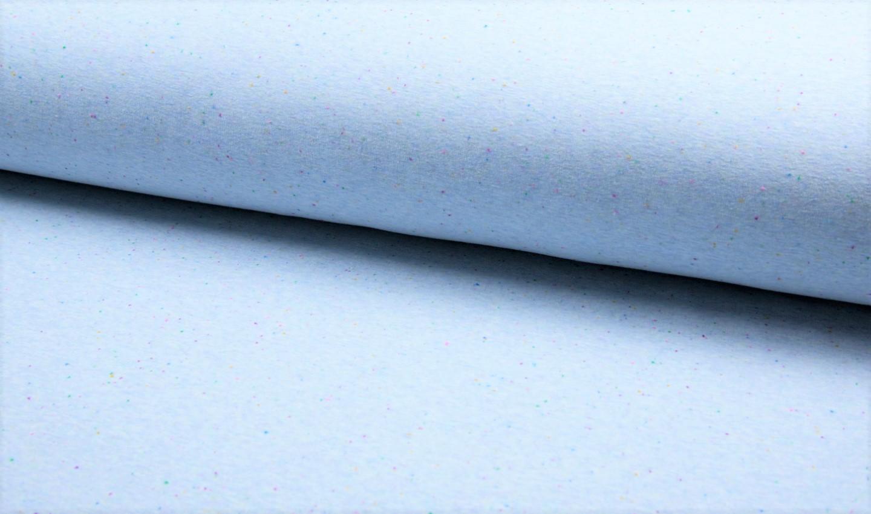 0,57 m Reststück       Alpenfleece blau mit bunten Multi-Dots