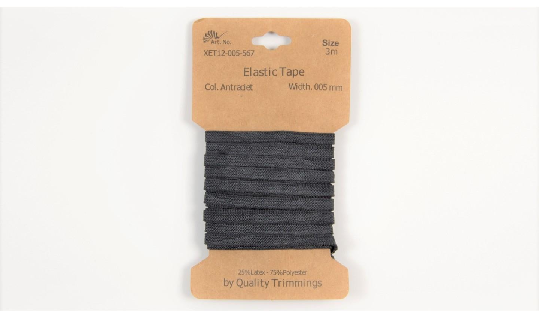 Karte 3m Elastik Gummi 5mm breit in anthrazit (567)