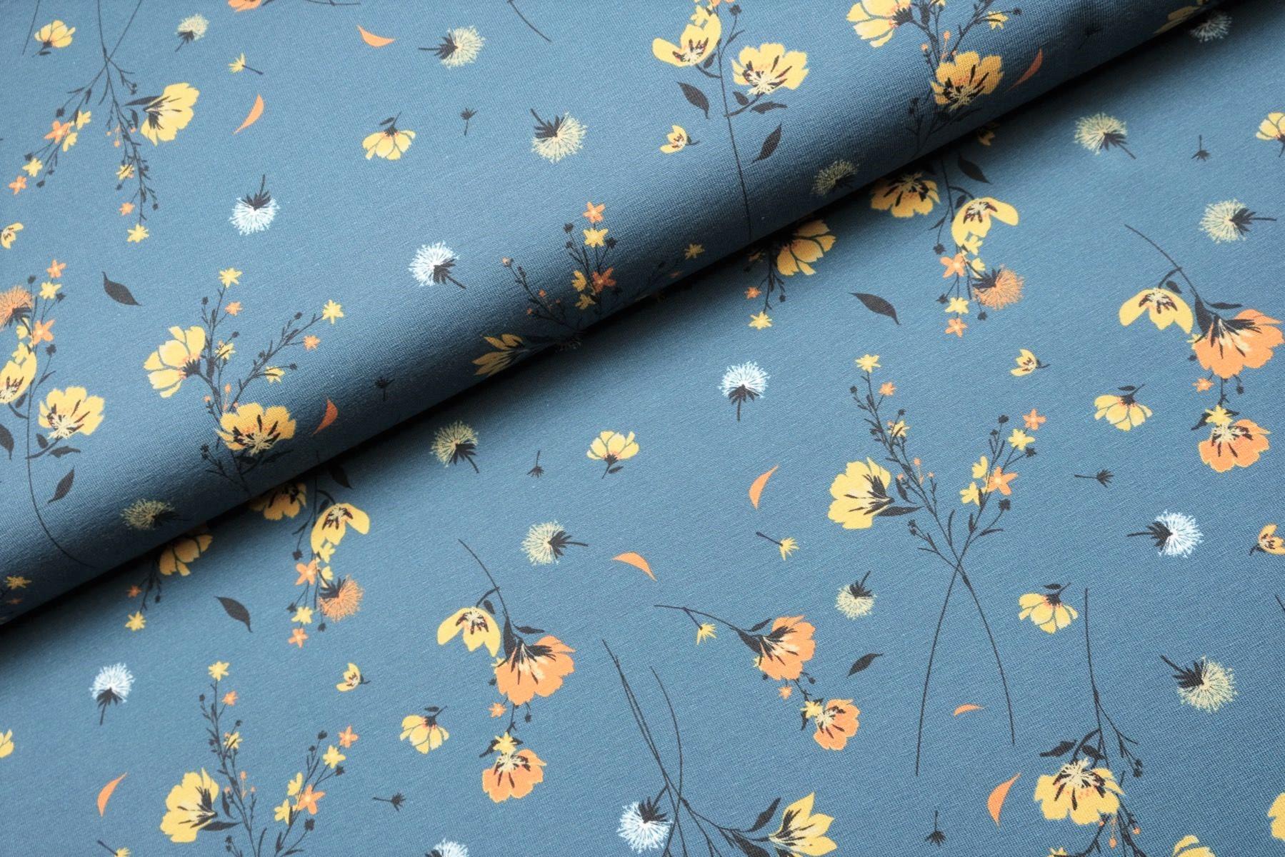 """Digitaljersey """"Flowers in the wind"""" - jeansblau"""