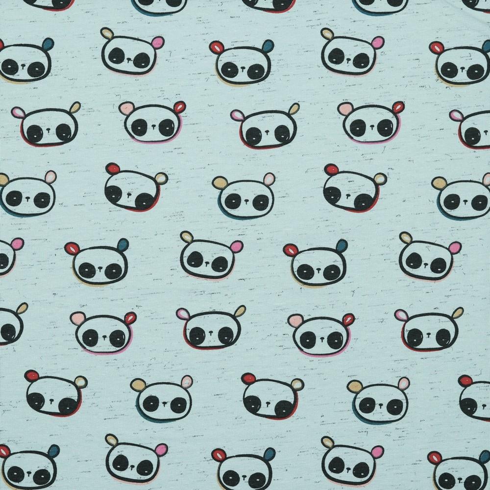 Baumwolljersey italian melange mit Pandas - dusty mint