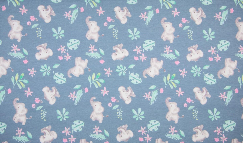 Baumwolljersey dusty blue mit Elefanten, Blätter, Blumen und Zweigen