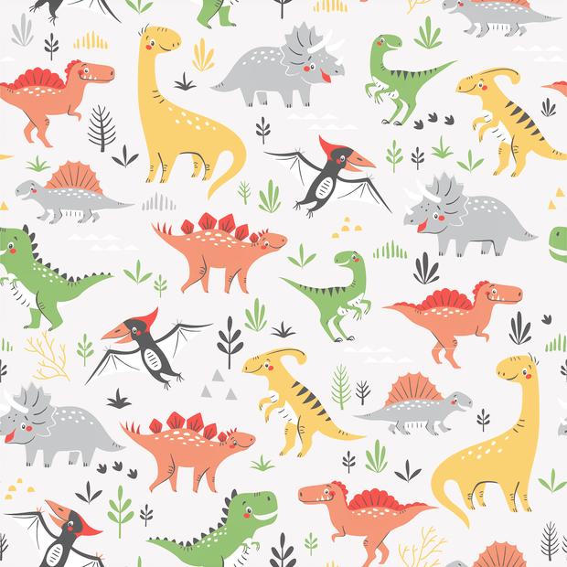 Baumwolljersey hellgrau mit verschiedenen bunten Dinosauriern
