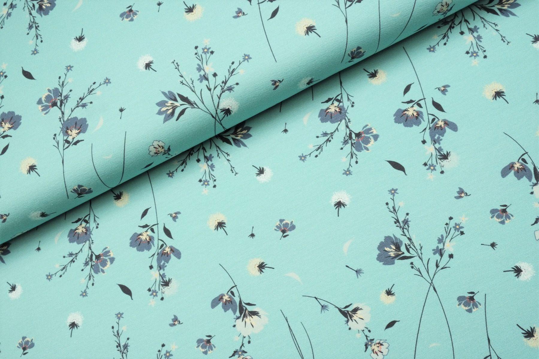 """Digitaljersey """"Flowers in the wind"""" - dusty aqua"""