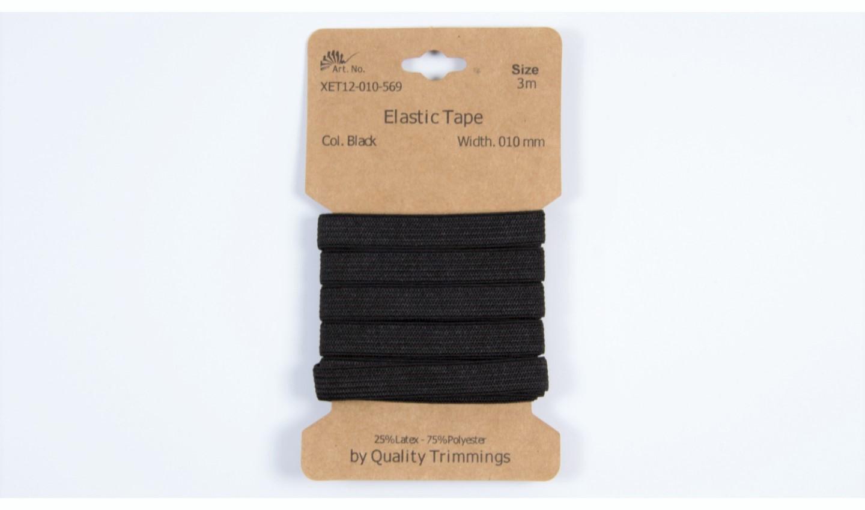 Karte 3m Elastik Gummi 10mm breit in schwarz (569)