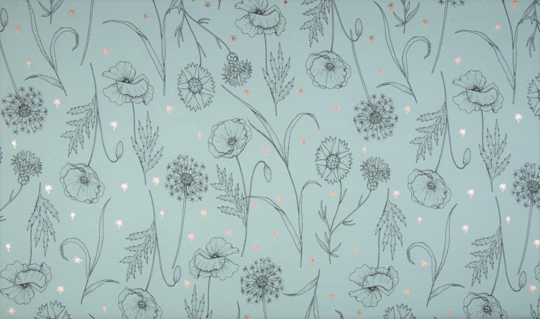 "Sommersweat angeraut ""Stylish Flowers"" mit Foliendruck - dusty mint"