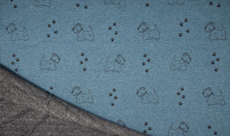 Alpenfleece blau meliert mit süssen Hunden