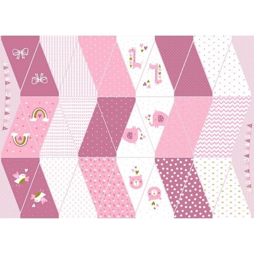 "Baumwollstoff Panel ""Baby Girlande"" rosa"