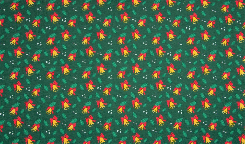 Baumwolljersey dunkelgrün mit Weihnachtsglocken