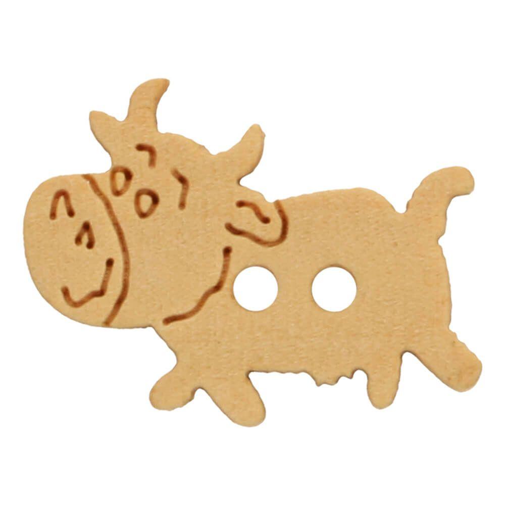 Holzknopf gelasert glückliche Kuh 20mm