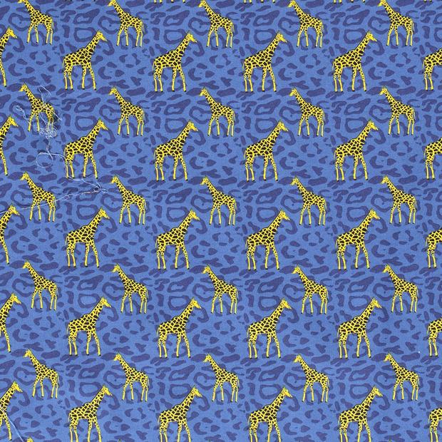 Baumwollstoff jeansblau mit Giraffen